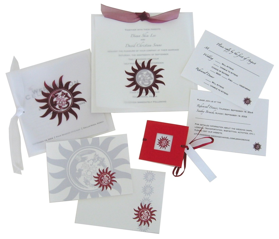 Clockwise from Top Center: Invitation, Reply Card, Information Card, Favor/Placecard, Thank-You Cards (2), & Program